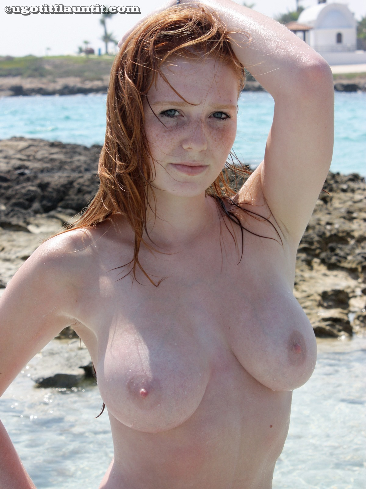 Infinitely possible cute naked girl with freckles