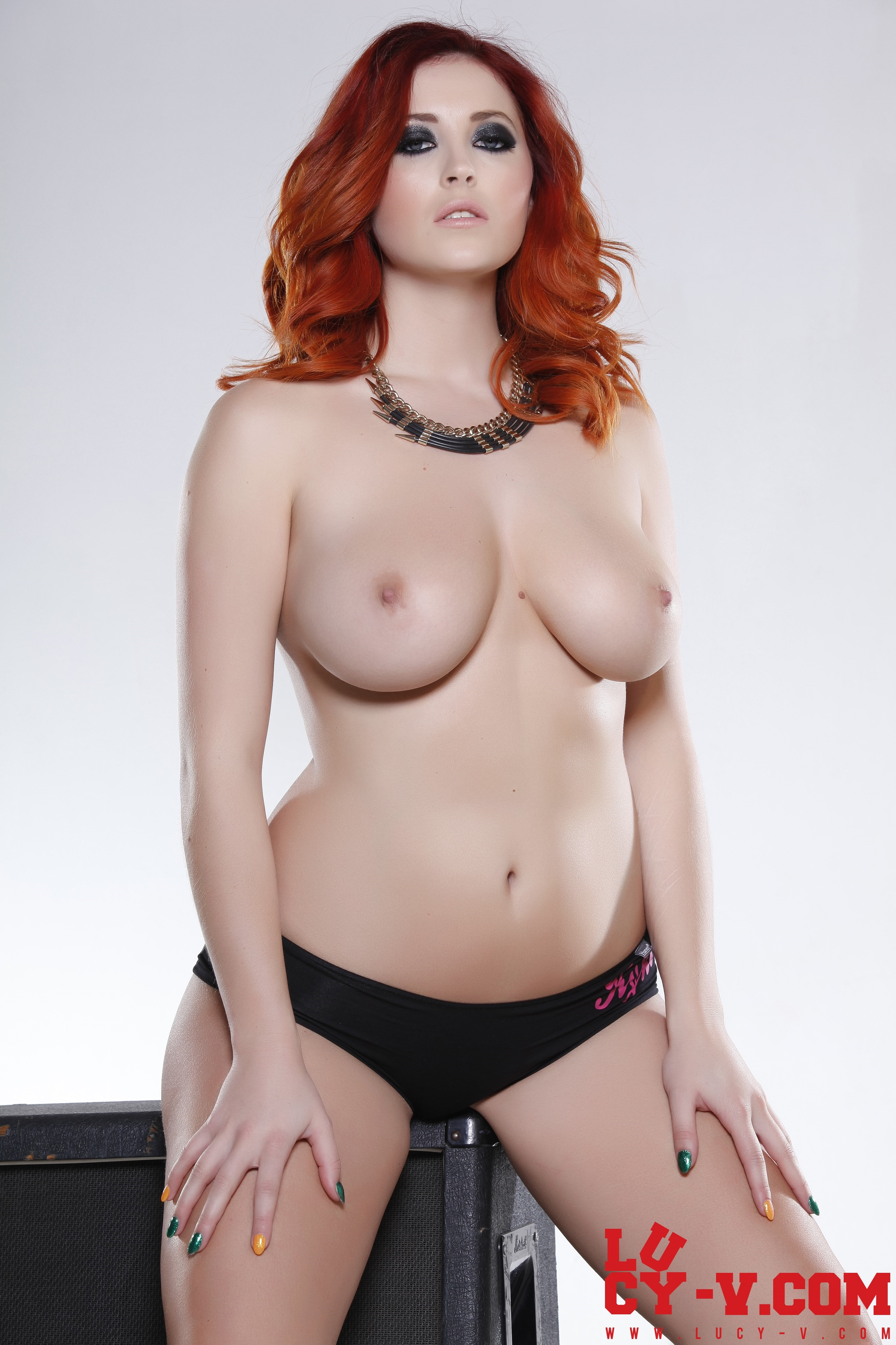 Lucy V Topless in Black Panties | Sexy Naked Redhead